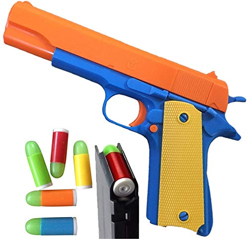 Colt 1911 Toy Gun with Soft Bullets and Ejecting Magazine. Actual Size of M1911 with Slide Action Orange Barrel for Training or Play]()