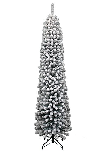 Pencil Slim Christmas Tree with Heavily Flocked Branches