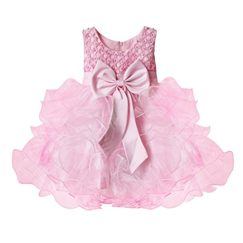TiaoBug Baby Girls Flower Wedding Pageant Princess Bowknot Communion Party Dress Pink 6-9 Months