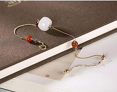FUKAI Simple FEA 14K Oro Pulseras Finas para Mujeres Jade Blanco Bolas De Cristal Rosa Piedras Preciosas Pulsera Brazaletes Rebordear Joyería Fina