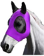 KingMSPG Hästfluga mask ponnymask, hästmask med näthörna och öron andningsbart tygskydd hästmask nät skydd för ponny/häst (lila)
