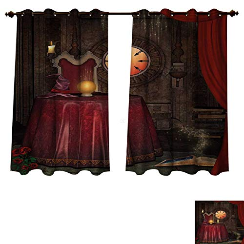 Anzhouqux Gothic Blackout Thermal Curtain Panel Fortuneteller Room with Mystic Crystal Ball Magician in Fairy Tale Image Print Patterned Drape for Glass Door Maroon Brown W55 x L63 inch