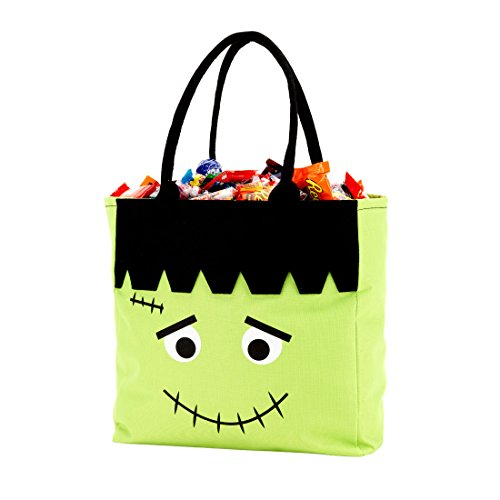 Custom Personalized Character Halloween Bag Trick or Treat Tote Storage Frankenstein (Frankenstein - Green - -