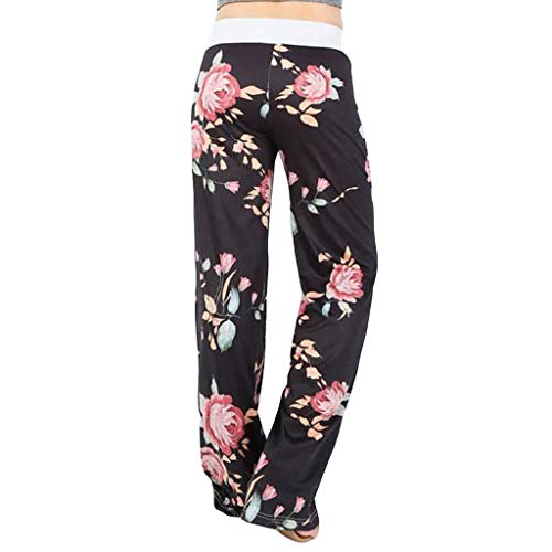 Todaies Womens Wide Leg Lounge Pants,Comfy Stretch Floral Print Drawstring Palazzo Pants (Black 10, S)