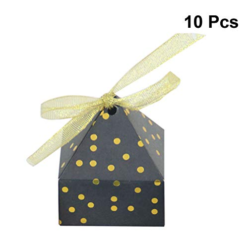 Toyvian 10pcs Gift Boxes Pyramid Shape Dot Candy Box for Wedding Party Present (Black) ()