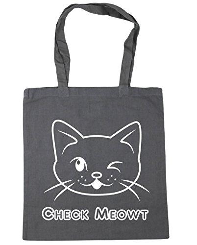 HippoWarehouse Compruebe Meowt Tote Compras Bolsa de playa 42cm x38cm, 10litros gris grafito