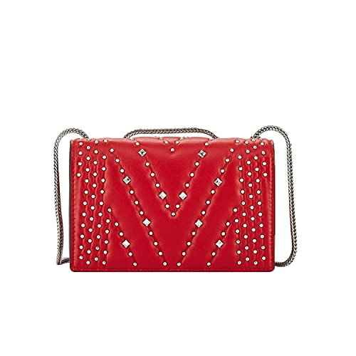 Red Disco Studded Leather Bag MCM Diamond Mini Crossbody 06wUxU
