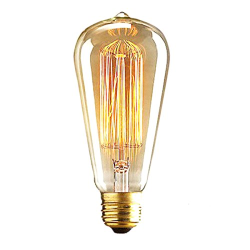 (ALK E26 E27 60W ST64 Vintage Edison Tungsten Filament Incandescent Bulb Squirrel Cage Retro Clear Glass Light for Bar Home Party Lighting Source (ST64,60 Watts))