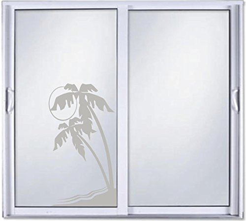 Palm Tree DIY Etched Glass Vinyl Privacy Film Glass Door Decals Sliding Door Decal Door Stickers Window Sticker