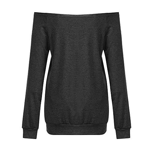 Shirt Anmain Donna Felpa da Elegante Donna Camicie Lungi Autunno Donna Nero Lettera Pullover da Top Maniche Camicia Camicetta T grAgxZ