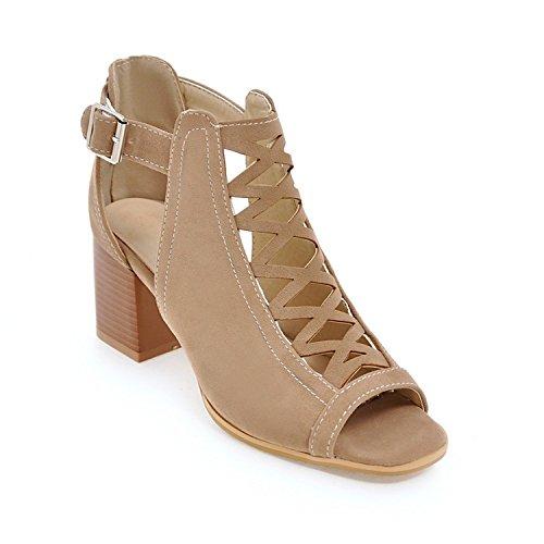 Sky-Pegasus 2018 Summer Shoes Fashion Punk high Heels Shoes Buckle peep Toe Woman Sandals Size 34-43,Apricot,6