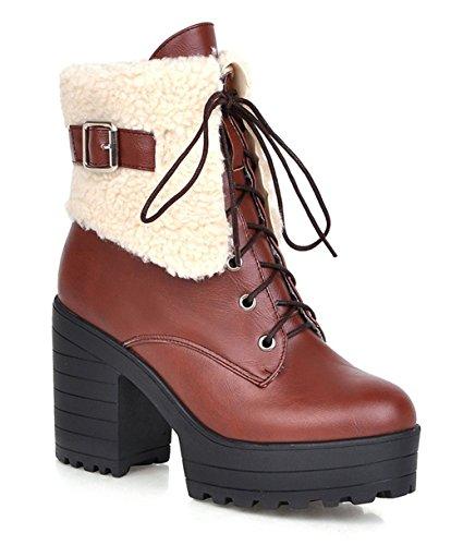YE Plateau High Heel Blockabsatz Schnürstiefeletten mit Fell Elegant Fashion 9cm Absatz Warm Gefütterte Herbst Winter Damenstiefel Braun