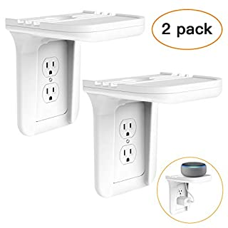Wall Outlet Shelf Holder Charging Socket Power Perch Organizer, [up to 15lbs] [Easy Install] with Standard Vertical Outlet, Space Saving Solution for Echo/Google Home/Cell Phone/Smart Speaker(2 Pack)