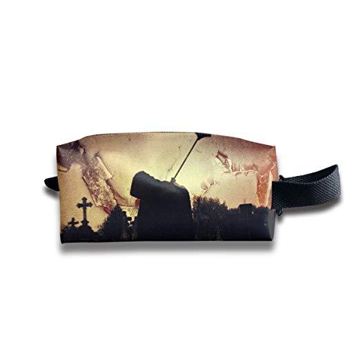 Halloween Death Zombie Silhouette Black Multi-Function Key Purse Coin Cash Pencil Travel Makeup Toiletry Bag Box Case ()