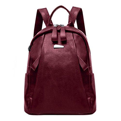 YJYDADA Fashion Women Girl Leather Backpack Travel Rucksack School Bag (Red) from YJYDADA