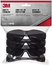 3M Safety Outdoor Safety Eyewear, Black Frame, Gray Scratch-Resistant Lenses (4-Pack)