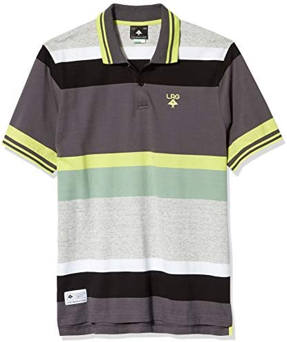 LRG Lifted Research Group Men`s Rasta Striped Polo Shirt
