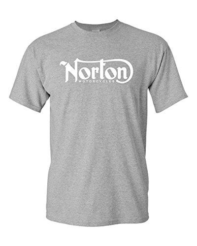 Norton Motorcycle Classic Logo Racing Men's White Black T-Shirt Size S-3XL (3X, Grey)