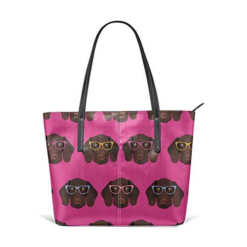 Handbags For Women,German Shorthaired Pointer Satchel Leather Shoulder Bag,Totes Purses Messenger Bags ()