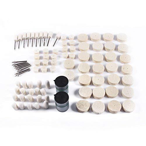 90pcs Kit de tampon de polissage en feutre de laine polissage propre propre roues et point Mandrin pour outils rotatifs Zerodis