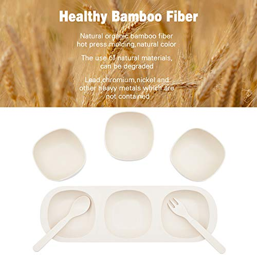 3pcs Bamboo Kids Bowls for Baby Feeding, Non Toxic & Safe Toddler Bowls, Eco-Friendly Tableware for Baby Toddler Kids Bamboo Toddler Dishes & Dinnerware Sets, Square Bowls with Saucer 01