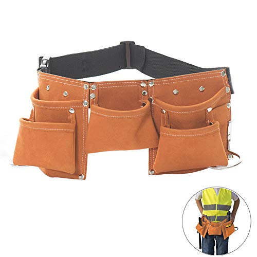 Messar Children's Leather Tool Belt, Kids Leather Working Tool Belt Child's Tool Apron Pouch Bag for Youth Costumes Dress Up Construction Role Play (Orange) -