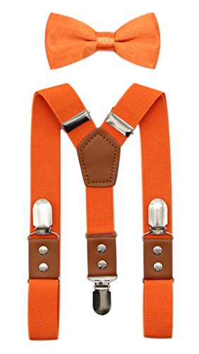 JAIFEI Suspender & Bowtie Set For Men & Boys Durable Clips & High End PU Leather (Boys(32 Inches), Orange)]()