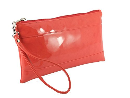 Loni Womens Adorable Patent Clutch Bag Wallet Purse for Women with Detachable Wrist Strap in coral orange (Orange Patent Leather Clutch)