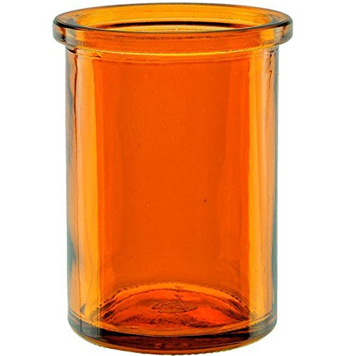 """Bluecorn Beeswax 50% Recycled Glass Candle Holder (2 ¼"""" Interior Diameter x 3 ¾"""" Tall) – For use with Tea Light and Votive Candles (Orange Candle Holders)"""