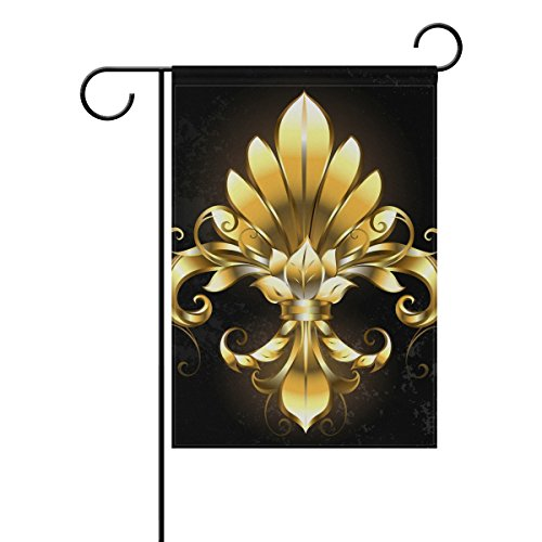 YZGO Art Painted Gold Fleur De Lis Garden Flag Home Polyeste