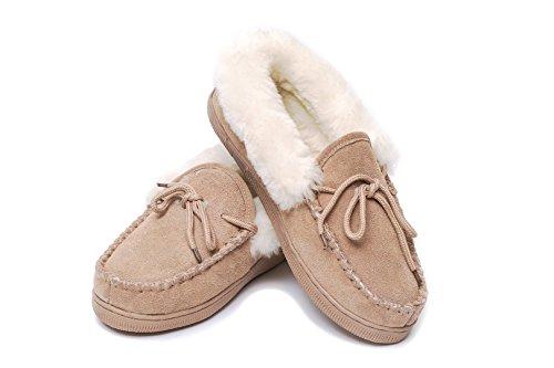 Zapatillas de casa de piel de oveja Mocasín DE LUXO