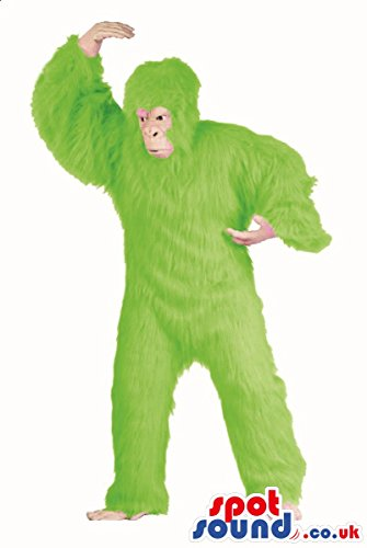 Green Gorilla Adult Costumes (Flashy Green Hairy Gorilla Plush SPOTSOUND US Mascot Costume Or Disguise)