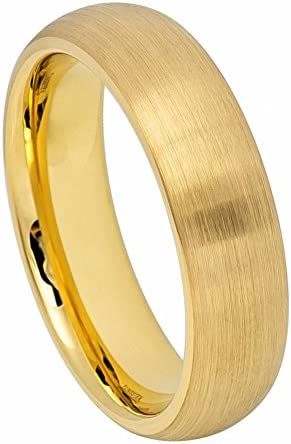 Mens 6mm Tungsten Ring Yellow Gold IP Plated Brushed Domed Classic Style