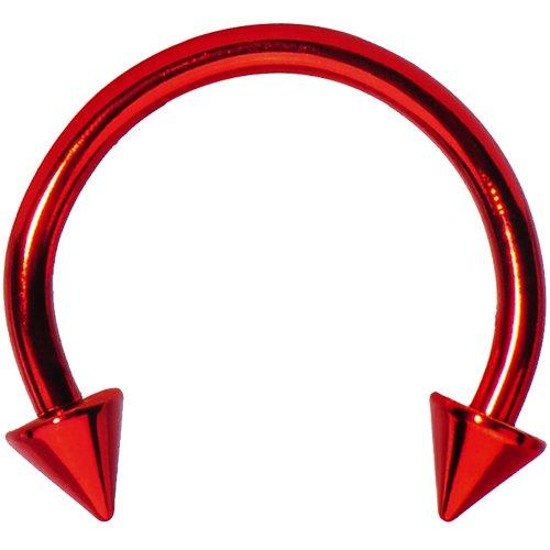 Spike Horseshoe Circular Barbell (16 Gauge Red Spike Horseshoe Circular Barbell 3/8