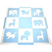 SoftTiles Interlocking Foam Playmat- Safari Animals Themed- Kids Playrooms and Baby Nursery- Thick Large 2' Floor Tiles- 6.5'x 6.5'(Light Blue, White) SCSAFWS