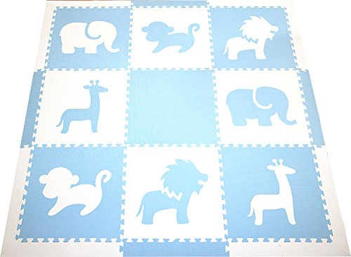 SoftTiles Interlocking Foam Playmat- Safari Animals Themed- Kids Playrooms and Baby Nursery- Thick Large 2' Floor Tiles- 6.5'x 6.5'(Light Blue, White) SCSAFWS - Blue Playmat