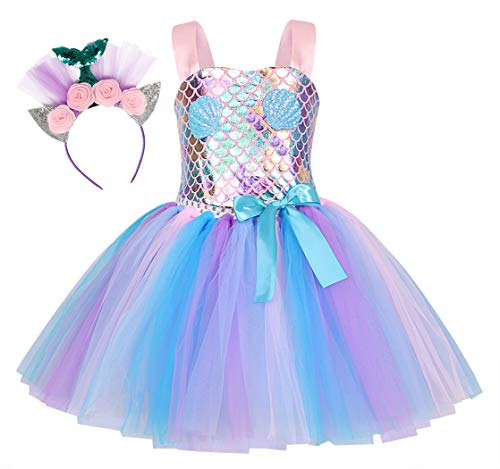 Jurebecia Mermaid Tutu Dress Girls Halloween Birthday Party Role Play Costume Princess Mermaid Dress Up Clothes with Headband