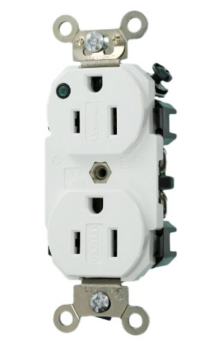 Leviton 8200-PLW Hospital Grade 15A 125V, Duplex Receptacle, NEMA 5-15R, Self-Grounding, Green LED Status Indicator, White