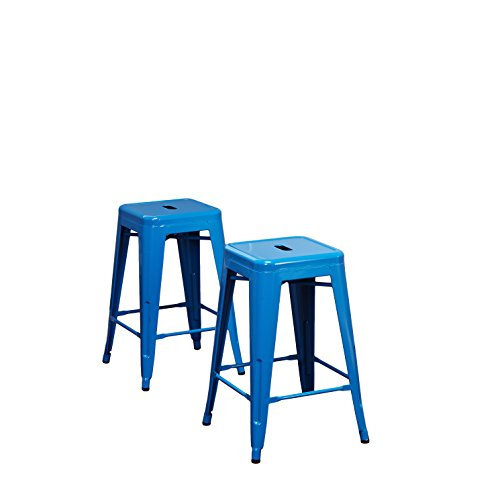 Target Marketing Systems Ultra Modern Stackable Metal Counter Stool, Armless and Backless, Set of 2, With Splayed Legs, 24'', Blue by Target Marketing Systems