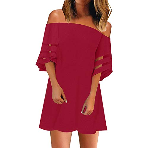 Sunhusing Ladies Sexy Word Neck Strapless Off-Shoulder Short-Sleeve Mesh Stitching Mini Pleated Dress Red