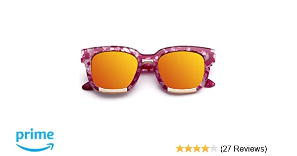 19c4f1ba0a Amazon.com  Menton Ezil Retro Horn Rimmed Plastic Frame Hot Pink Tortoise  Gold Yellow Mirrored Lens Sunglasses  Clothing