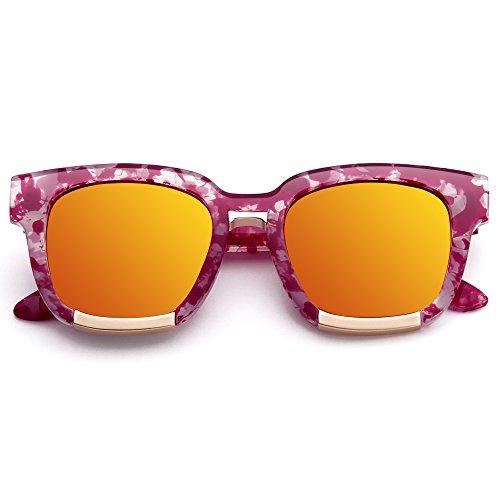 Menton Ezil Retro Horn Rimmed Plastic Frame Hot Pink Tortoise Gold Yellow Mirrored Lens - Hot Mirrored Pink Sunglasses
