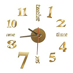 New Modern DIY Analog 3D Mirror Surface Large Number Wall Clock Sticker Home Decor Gold
