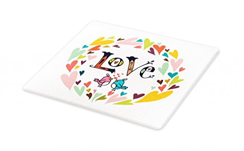 Lunarable Hearts Cutting Board, Cartoon Circular Wreath of Colorful Hearts with Lover Birds and Love Word Typography, Decorative Tempered Glass Cutting and Serving Board, Large Size, Multicolor - Circular Chopping Board