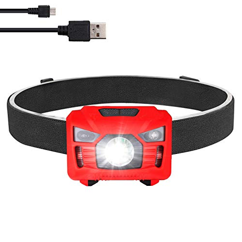three trees Sensor Headlamp LED Headlight Waterproof,Shockproof Headlight 4 Modes Up to 200 Lumens Bonus Batteries & Reflective Band. Best for Running, Biking, Camping, Fishing, Hiking (red)