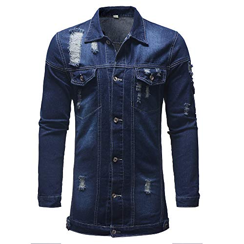 CUCUHAM Men's Autumn Winter Casual Vintage Wash Distressed