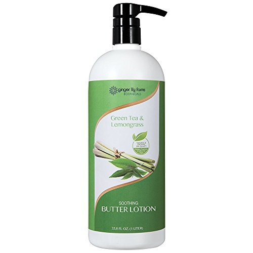 Ginger Lily Farms Botanicals Soothing Butter Lotion Green Tea & Lemongrass, Paraben, Phosphate and Sulfate Free, 1 Liter