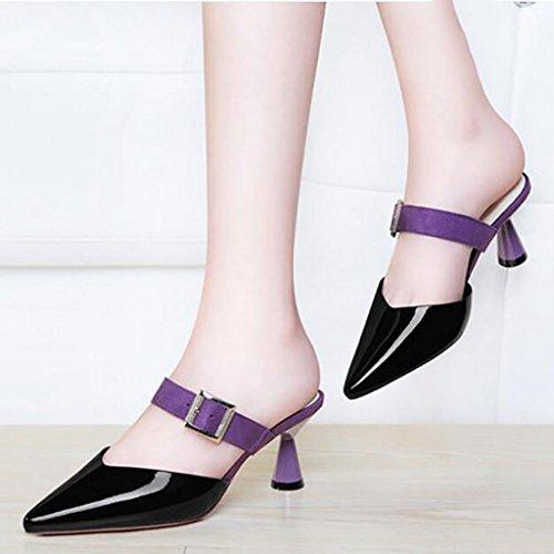 et A paresseux A à pantoufles sandales sandales fines plates demi Sandales chaussons porter nbsp; taille femme chaussures mode été élégant 38 Baotou sandales Couleur pantoufles de hauts talons FAFZ fZqz4w