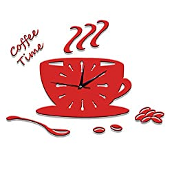 Modern Creative 3D Coffee Cup Pointer Clock Acrylic Ultra-quiet Wall Clock Acrylic Stickers Clock Home Decoration Bedroom Living Room Wall Decor Art ,Red
