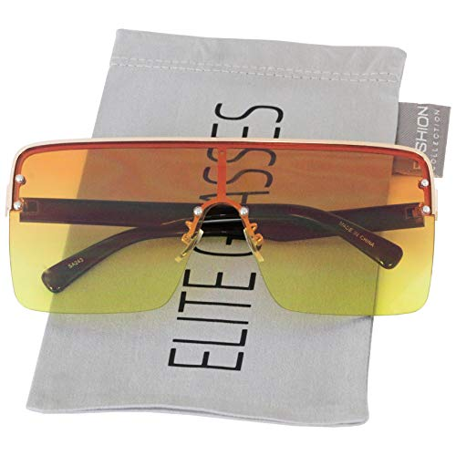 Oversized Flat Top Square VINTAGE RETRO SHIELD VISOR Style Aviator SUNGLASSES (Orange ()